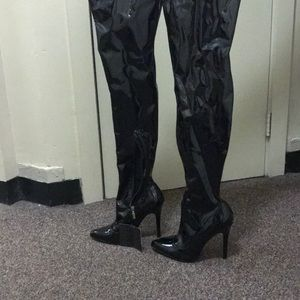 Pleather black thigh high spy boots